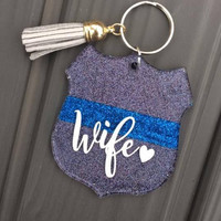 Thin blue line wife keychain