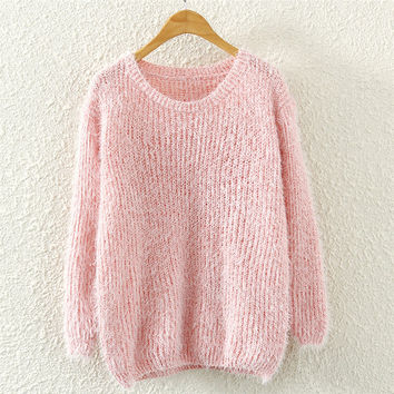 Womens Pink Mohair Knit Sweater