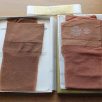 Vintage Sears 2 pair Cling-alon Hosiery New Old Stock Size 8-9 Petite Toast