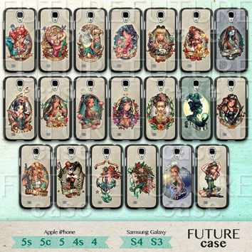 Disney Samsung Galaxy S4 Case Disney Tattoo Princess Samsung Phone Case Samsung Galaxy S3 S4 skin case cover Hard or Soft Case-DTP20