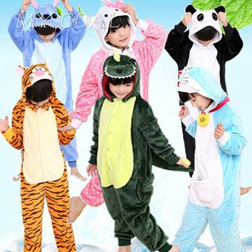 New Baby Boys Girls Pajamas Autumn Winter Children Flannel Animal funny animal Stitch panda Pajamas Kid Onesuit Sleepwear