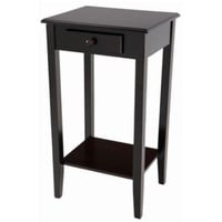 Wood End Table with Drawer and Shelf Tapered Legs Home Furniture Espresso Finish
