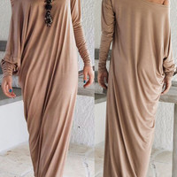 Khaki  Off Shoulder Ruched  Maxi Dress