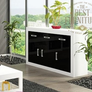 Modern Sideboard Cupboard Storage Unit -Matt or High Gloss 3 Drawer and 3 Door
