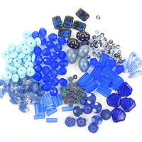 Blue Glass Beads, Light Blue Round Rondell Tube Dagger Rectangle Cube Oval Destash Lot of Blue Beads Closeout Sale
