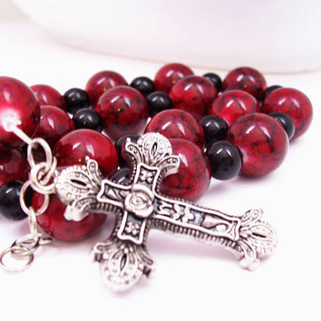 Metal Cross Jewelry - Christian Bracelet - Religious Bracelet - Cranberry and Black - Cross Bracelet - Double Wrap Bracelet - Adjustable