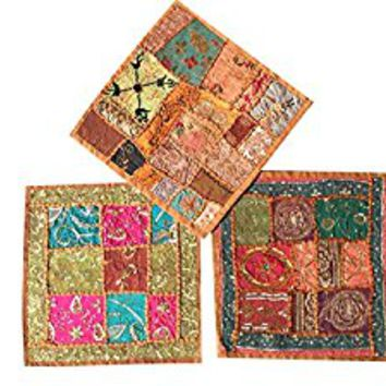"Set Of 3 Boho Decorative Indian Throw Pillow Cases Cotton Embroidered Patchwork Cushion Cover 16 "" x 16 """