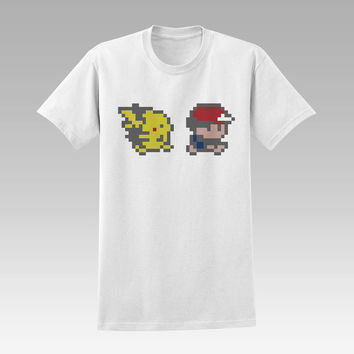 Ash and Pikachu pokemon t-shirt unisex adults