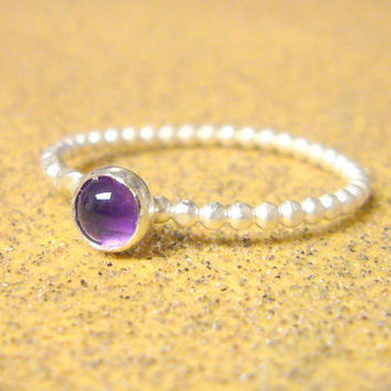 Amethyst ring stackable silver ring sterling silver stack ring sterling silver ring amethyst jewelry spring fashion
