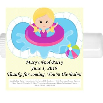 15 Pool Party Birthday Lip Balm Favors Blonde Hair
