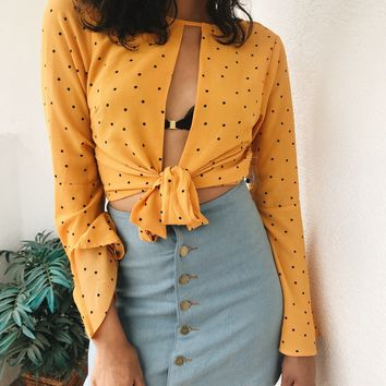 ANELL TIE TOP- MUSTARD POLKA DOT