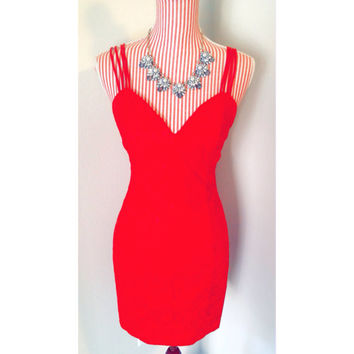 Vintage Bright Red Lace Cocktail Dress