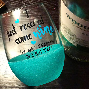I JUST RESCUED SOME WINE - STEMLESS GLITTER WINE GLASS