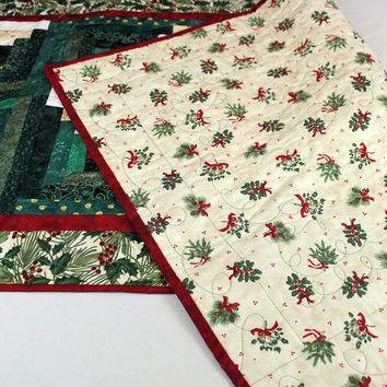 Christmas Table Runner in Creams and Greens with Holly Border