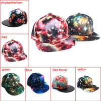 Summer Snapback Flat Adjustable Galaxy Baseball Cap Hip Hop Hat For Women Men Space Cosmic Pattern Print