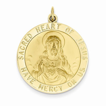 14 Yellow Gold Sacred Heart Jesus Medal Pendant