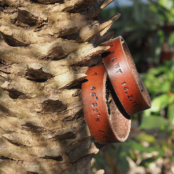 Engraved Couple Leather Cuff Bracelet - Wrist Band handmade, Personalized Initial, GPS Coordinates, Custom Hand Stamped, minimalist #Brown