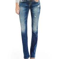 Silver Jeans Co. Aiko Distressed Faded Mid Bootcut Jeans | Dillards