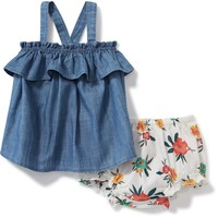 2-Piece Chambray Top and Printed Bloomers Set for Baby | Old Navy