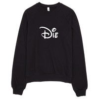 Die Cartoon Typography Raglan Sweater Made in USA
