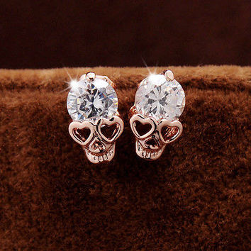 Vintage Stud Earring Women Diamond Gold Plated Skull Ear Stud Earrings