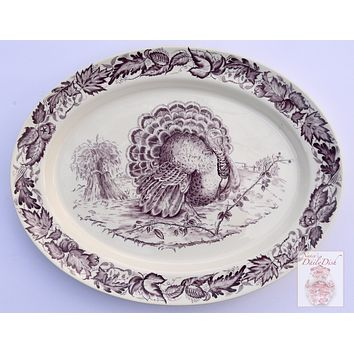 Royal Staffordshire China Clarice Cliff Purple Transferware Aubergine Thanksgiving Serving Tray Tom Turkey Platter Autumn Foliage