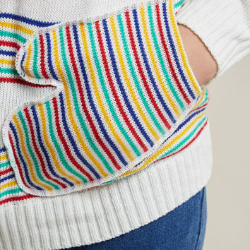 Knit Hoodie with Mitten Pockets in Rainbow