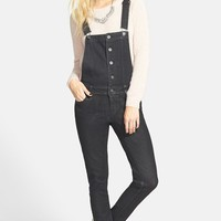 Junior Women's Fire Button Front Denim Overalls,