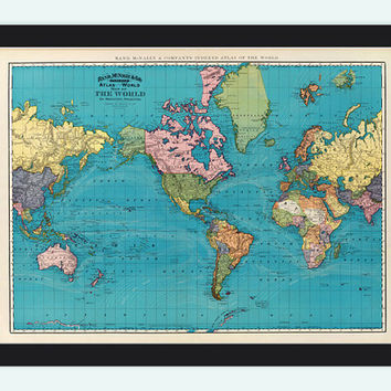Old World Map Atlas Vintage World Map 1897 Mercator projection
