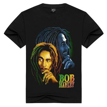 Men/Women 100% cotton Bob marley T-shirt Rock t shirt Summer Casual tshirt Men Solid Black hip hop Men tops loose t-shirts