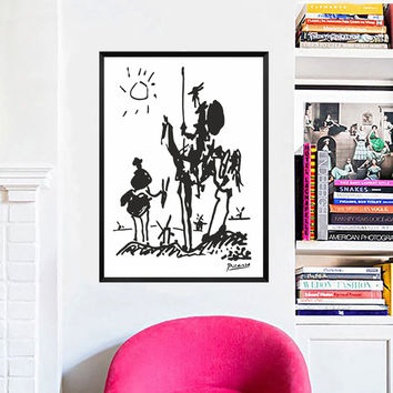 Canvas Art Pablo Picasso Paintings Don Quixote Banksy Poster Modern Abstract Oil Painting Wall Pictures for Living Room No Frame