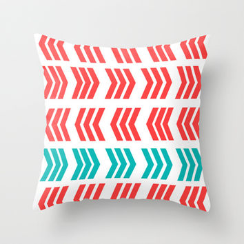 Aqua Pop and Coral Zig Zag Throw Pillow by Lisa Argyropoulos | Society6