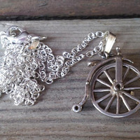 Bike Necklace, Farthing Bicycle ,Vintage Penny Farthing Sterling Silver