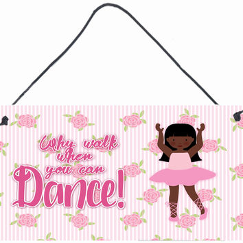 Ballet Long Hair African American Wall or Door Hanging Prints BB5389DS812