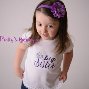 Big Sister Princess--Big Sister Shirt-- Personalized Shirt-- Sibling Sister Shirt Pregnancy Announcement Shirt-- Baby Announcement Shirt--