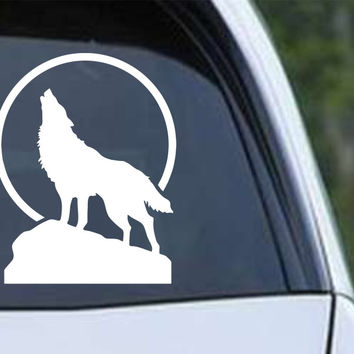 Wolf Howling (g) Die Cut Vinyl Decal Sticker