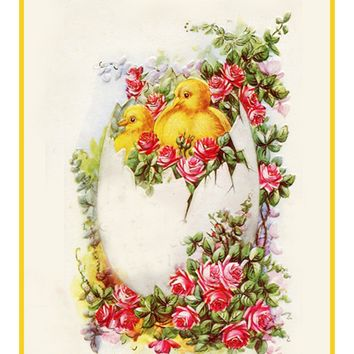 Vintage Easter Baby Chicks and Roses Counted Cross Stitch or Counted Needlepoint Pattern