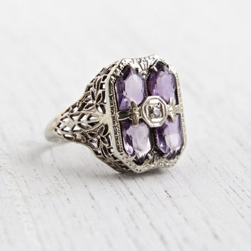 Antique 14k White Gold Filigree Amethyst Purple Stone & Diamond Ring - 1930s Art Deco Fine Jewelry / Statement Lavendar