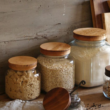 Wood Pantry Jar Lids - Covers for Glass Pantry Jars - Lids for Anchor Hocking Cracker Jars