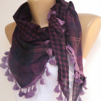 trendscarf , plaid purple tassel scarf , womens fashion accessories for spring summer cotton fabric with tassel