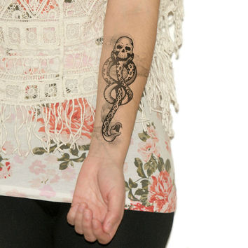 Temporary Tattoo Dark Mark - Fandom, Geekery, Harry Potter, Voldemort, death eater, Large Tattoo NO. E36