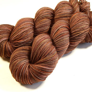 Hand Dyed Yarn - Sock Weight 4 Ply Superwash Merino Wool Yarn - Potluck Browns - Knitting Yarn, Sock Yarn, Wool Yarn, Tonal Yarn