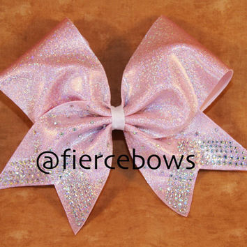 LOVE Pink Rhinestone Cheer Bow