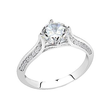 Simply Yours - Women's Stainless Steel High Polished Clear CZ Ring