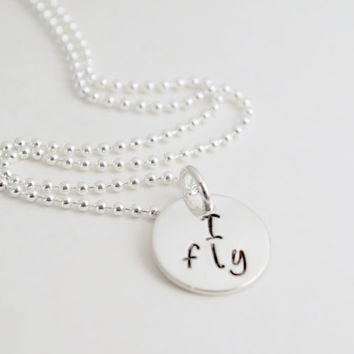 Cheerleading Necklace - I Fly - I Base - I Back Cheerleading Gift Cheer Jewelry Team Cheer Gift - Hand Stamped Sterling Silver