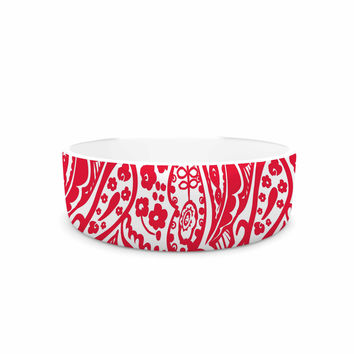 "Agnes Schugardt ""Paisley"" Paisley Red Pet Bowl"