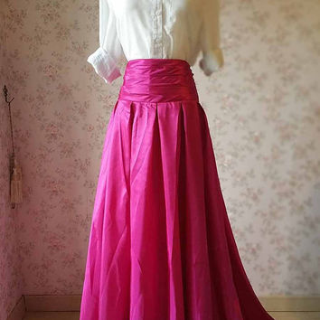 New Fuchsia Maxi Skirt. High Waist Pleated Maxi Skirt.  Women Maxi Skirt with pockets. Hot Pink Skirt Full Pleated Skirt. Floor Length(S981)