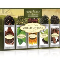 Tea Forté® WORLD OF TEAS Single Steeps® Loose Leaf Tea Sampler, 15 Single Serve Pouches - Green Tea, Herbal Tea, Black Tea