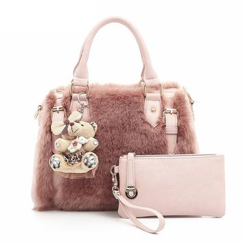 Fashion Fur Luxury Handbags Women Bags Designer Women's Handbags Shoulder Bag Ladies Hand Bags New Boston Casual Tote
