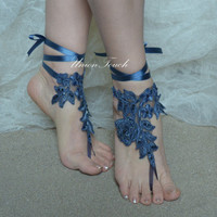 Blue lace Sandals, bleu royal Barefoot Sandals Beach Wedding Barefoot Sandals Lace Wedding Shoes Beach Shoes Beach Sandals Bridal Sandals b